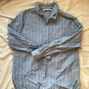 Zara blouse blue pinstripes